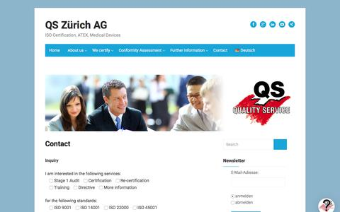 Screenshot of Contact Page quality-service.ch - Contact – QS Zürich AG - captured Aug. 17, 2017
