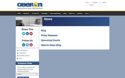 Screenshot of Press Page oberonwireless.com - Oberon Inc. - News - captured Jan. 21, 2016