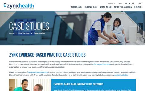 Screenshot of Case Studies Page zynxhealth.com - Evidence-Based Practice Examples & Case Studies   Zynx Health - captured Dec. 21, 2016