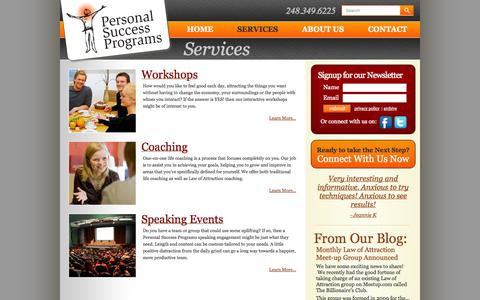 Screenshot of Services Page personalsuccessprograms.com - Workshops - Life Coaching - Speaking Engagements | Personal Success Programs - captured Oct. 2, 2014