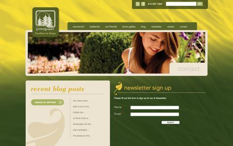 Screenshot of Signup Page greenscapes.net - Newsletter Sign Up | Greenscapes - captured Feb. 2, 2016