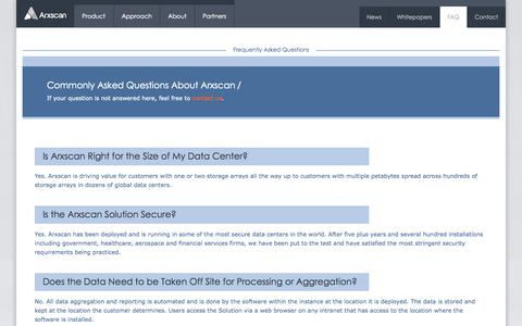 Screenshot of FAQ Page arxscan.com - Frequently Asked Questions | Arxscan - captured Sept. 30, 2014