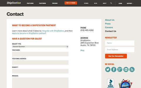 Screenshot of Contact Page shipstation.com - Contact Us | We are here for you |ShipStation - captured Sept. 18, 2014