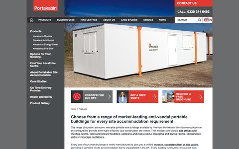 Screenshot of Products Page portakabin.co.uk - Construction site cabins & site offices | Portakabin® - captured Oct. 16, 2018