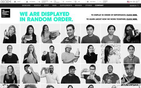 Screenshot of Team Page deciem.com - DECIEM | People - captured March 22, 2019