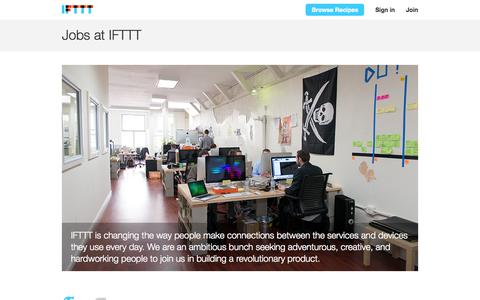 Screenshot of Jobs Page ifttt.com - Jobs - IFTTT - captured Dec. 16, 2014