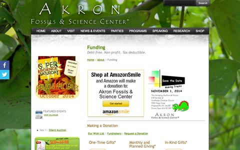 Screenshot of Support Page akronfossils.com - Funding - Akron Fossils & Science Center - captured Oct. 4, 2014