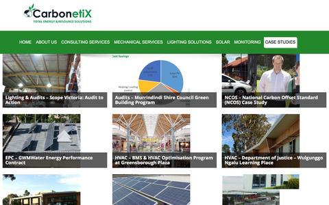 Screenshot of Case Studies Page carbonetix.com.au - Project Portfolio – CarbonetiX | Energy Audit | LED Lighting | Solar System | Hot Water | Energy Monitoring - captured July 11, 2016