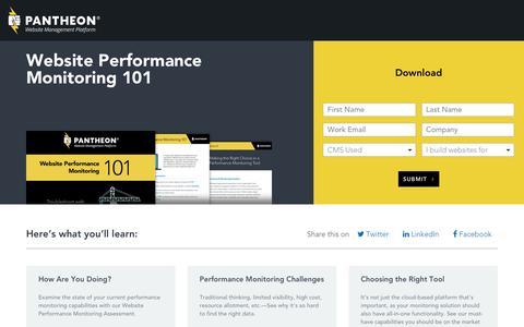 Screenshot of Landing Page pantheon.io - Website Performance Monitoring 101 - captured Aug. 30, 2016