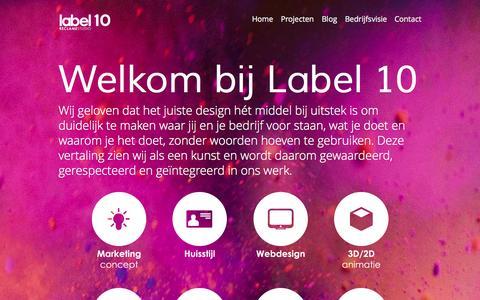 Screenshot of Home Page label10.eu - Bedrijfsfilm maken Breda | label 10 Reclamestudio - Wij geloven dat het juiste design hét middel bij uitstek is om duidelijk te maken waar jij en je bedrijf voor staan - captured Oct. 7, 2014