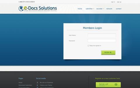 Screenshot of Login Page edocsrecording.com - e-Docs - Members Login - captured Oct. 3, 2014