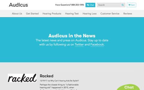 Screenshot of Press Page audicus.com - Press | Audicus Hearing Aids - captured Jan. 5, 2018