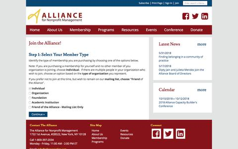 Screenshot of Signup Page site-ym.com - The Alliance for Nonprofit Management - captured June 29, 2018