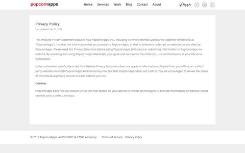 Screenshot of Privacy Page popcornapps.com - PopcornApps | Privacy Policy - captured May 19, 2017