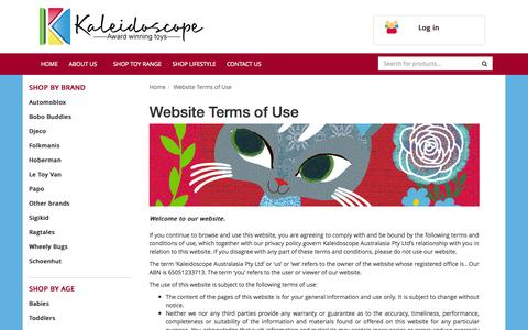 Screenshot of Terms Page kaleidoscope.com.au - Website Terms of Use - captured Oct. 6, 2014
