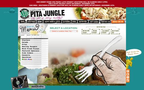Screenshot of Menu Page pitajungle.com - Tempe Healthy Restaurants | Pasadena Vegan Restaurants | Vegan Food | Pita Jungle - captured Dec. 11, 2015