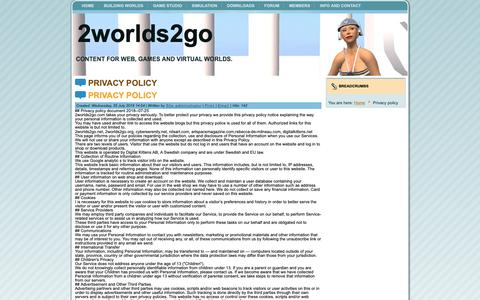 Screenshot of Privacy Page 2worlds2go.com - Privacy policy - captured Oct. 22, 2018