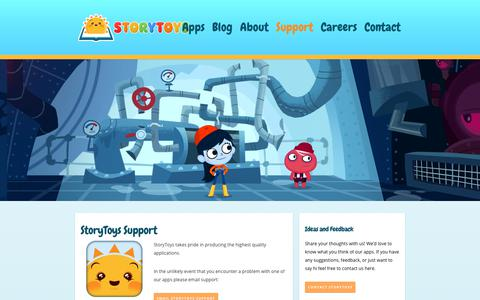 Screenshot of Support Page storytoys.com - StoryToys™ - App & IAPs (In App Purchase) Support - captured Oct. 13, 2018