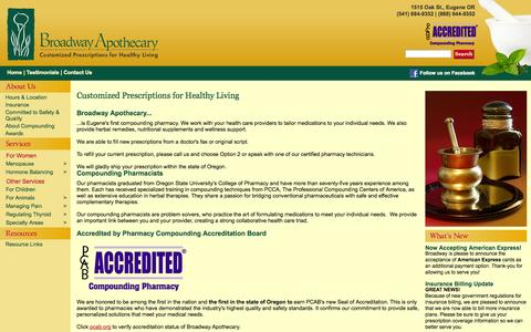 Screenshot of Testimonials Page broadwayapothecary.com - Broadway Apothecary Compounding Pharmacy - captured Sept. 30, 2014