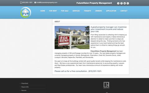 Screenshot of About Page futurevisionproperty.com - About | Property Manager | Planfield, Joliet, Aurora, Naperville, Downers Grove, DuPage County, IL - captured Oct. 11, 2018