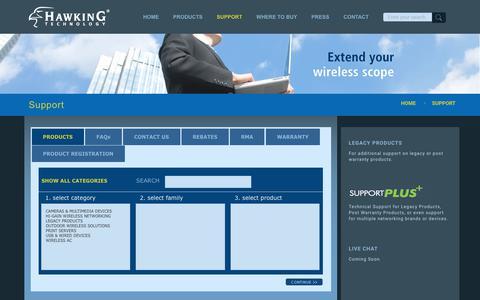 Screenshot of Support Page hawkingtech.com - Support - Hawking Technology - captured Sept. 27, 2018