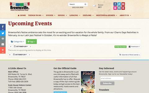 Screenshot of Team Page brownsville.org - Upcoming Events in Brownsville, Texas - Brownsville Convention & Visitors Bureau - captured Oct. 11, 2017
