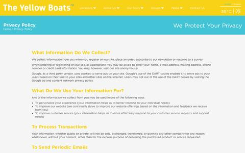 Screenshot of Privacy Page theyellowboats.com - The Yellow Boats > Terms and Conditions - Copy - captured Sept. 21, 2015