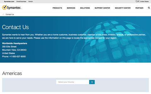 Screenshot of Contact Page symantec.com - Contact Us | Symantec Corporation - captured Feb. 5, 2016