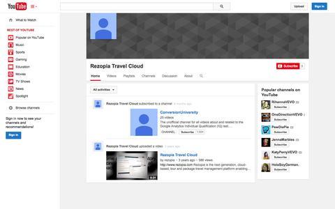 Screenshot of YouTube Page youtube.com - Rezopia Travel Cloud  - YouTube - captured Nov. 5, 2014