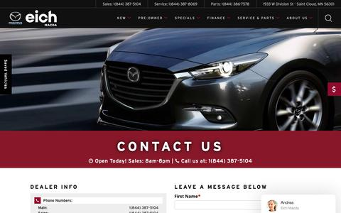 Screenshot of Contact Page eichmazda.com - Contact Eich Mazda | St. Cloud, MN Full-Service Car Dealer - captured Oct. 25, 2018