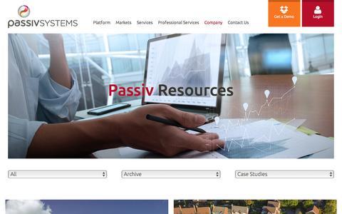Screenshot of Case Studies Page passivsystems.com - Resources - Case Studies & Press Releases | PassivSystems - captured April 1, 2017