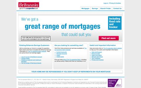 Screenshot of Home Page britannia.co.uk - Britannia - captured Sept. 19, 2014