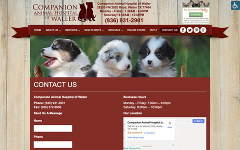Screenshot of Contact Page cahwaller.com - Contact a Veterinarian in Waller TX   Companion Animal Hospital of Waller - captured Sept. 29, 2018