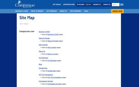 Screenshot of Site Map Page compassion.com - Site Map - captured Nov. 9, 2019
