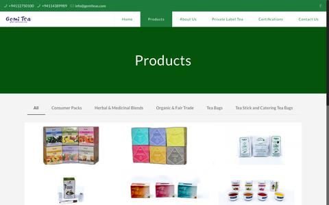 Screenshot of Products Page gemiteas.com - Products - GemiTeas - captured Sept. 27, 2018