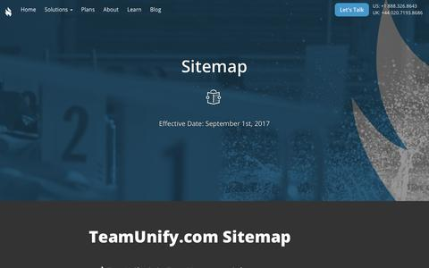 Screenshot of Site Map Page teamunify.com - TeamUnify Privacy Policy - captured Sept. 26, 2018