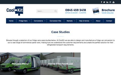 Screenshot of Case Studies Page coolkit.co.uk - Fridge Vans Case Studies   CoolKit Refrigerated Vans - captured Dec. 26, 2016