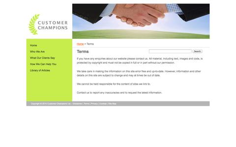 Screenshot of Terms Page customerchampions.co.uk - Terms » - captured Nov. 2, 2014