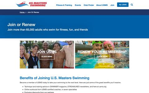 Screenshot of Signup Page usms.org - Join or Renew | U.S. Masters Swimming - captured Nov. 8, 2018