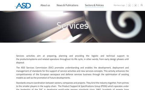 Screenshot of Services Page asd-europe.org - Services - ASD - captured Oct. 3, 2018
