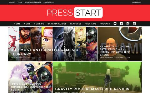 Screenshot of Home Page press-start.com.au - Press Start Australia - Bringing The Best Of Gaming To Australia - captured Jan. 31, 2016