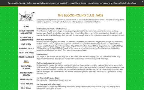 Screenshot of FAQ Page thebloodhoundclub.org.uk - Bloodhound FAQs - captured Oct. 26, 2018