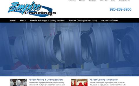Screenshot of Home Page empirepowdercoating.com - Empire Coatings - High Quality Powder Coating - captured Oct. 2, 2014