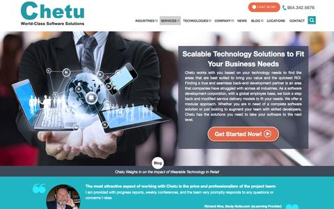 Screenshot of Services Page chetu.com - Scalable Technology Software Solutions - captured Nov. 11, 2015