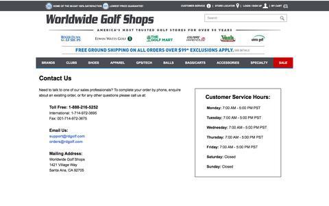 Screenshot of Contact Page worldwidegolfshops.com - Contact Us - captured Oct. 28, 2017