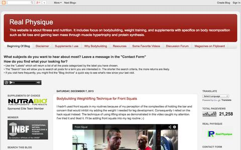 Screenshot of Home Page realphysique.com - Real Physique - captured Oct. 5, 2014