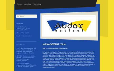 Screenshot of About Page audaxmed.com - Audax Medical - About Us - captured Feb. 21, 2016