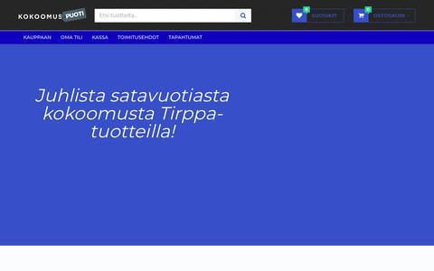 Screenshot of Home Page kokoomuspuoti.com - Kokoomuspuoti   Kokoomuslainen lifestyle-tuotteiden verkkokauppa - captured Oct. 24, 2018