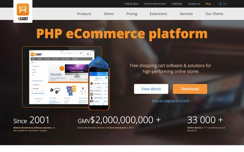 Screenshot of Home Page x-cart.com - X-Cart: PHP shopping cart software for e-commerce web-sites. - captured Jan. 21, 2015