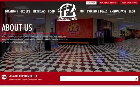 Screenshot of About Page itzusa.com - About Us – Itzusa | Entertainment, Game room, Bowling, Party Venue - captured Oct. 13, 2018